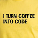I turn coffee into code funny computer geek caffeine t-shirts