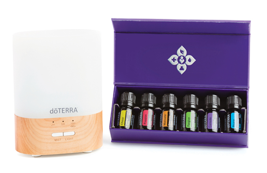 EMOTIONAL AROMATHERAPY ENROLLMENT KIT   PRICE: $195 Wholesale ($260 Retail)  PRODUCTS:  Lumo Diffuser  and the doTERRA Emotional Aromatherapy™ System: (5 mL Bottles) -  doTERRA Motivate® ,  doTERRA Cheer® ,  doTERRA Passion® ,  doTERRA Forgive® ,  doTERRA Console® ,  doTERRA Peace®   The Emotional Aromatherapy Diffused Enrollment Kit includes the perfect combination of materials to experience the uplifting and emotion boosting benefits of the aromatherapy system.