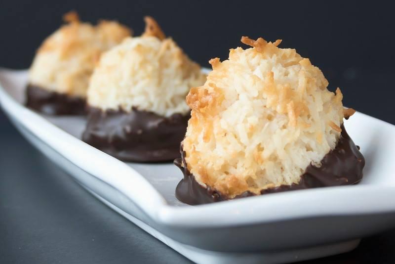 Our Scrumptious Macaroons dipped in Belgian Dark Chocolate.