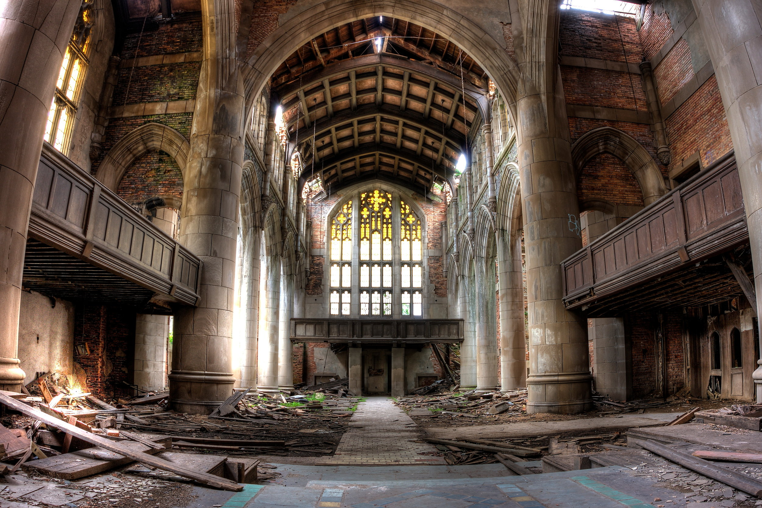Sanctuary. Abandoned City Methodist Church in Gary, Indiana. HDR