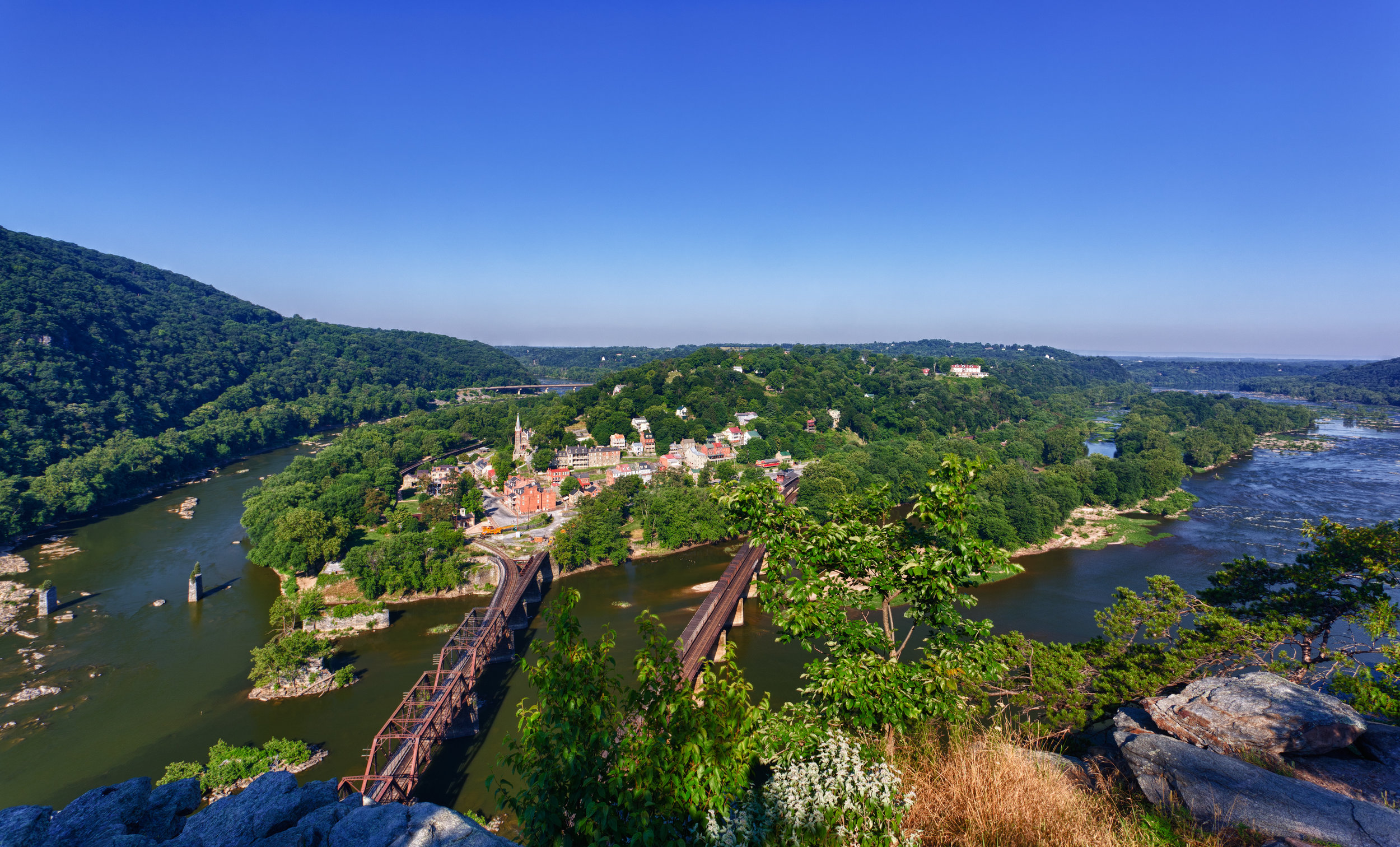Panorama over Harpers Ferry from Maryland Heights