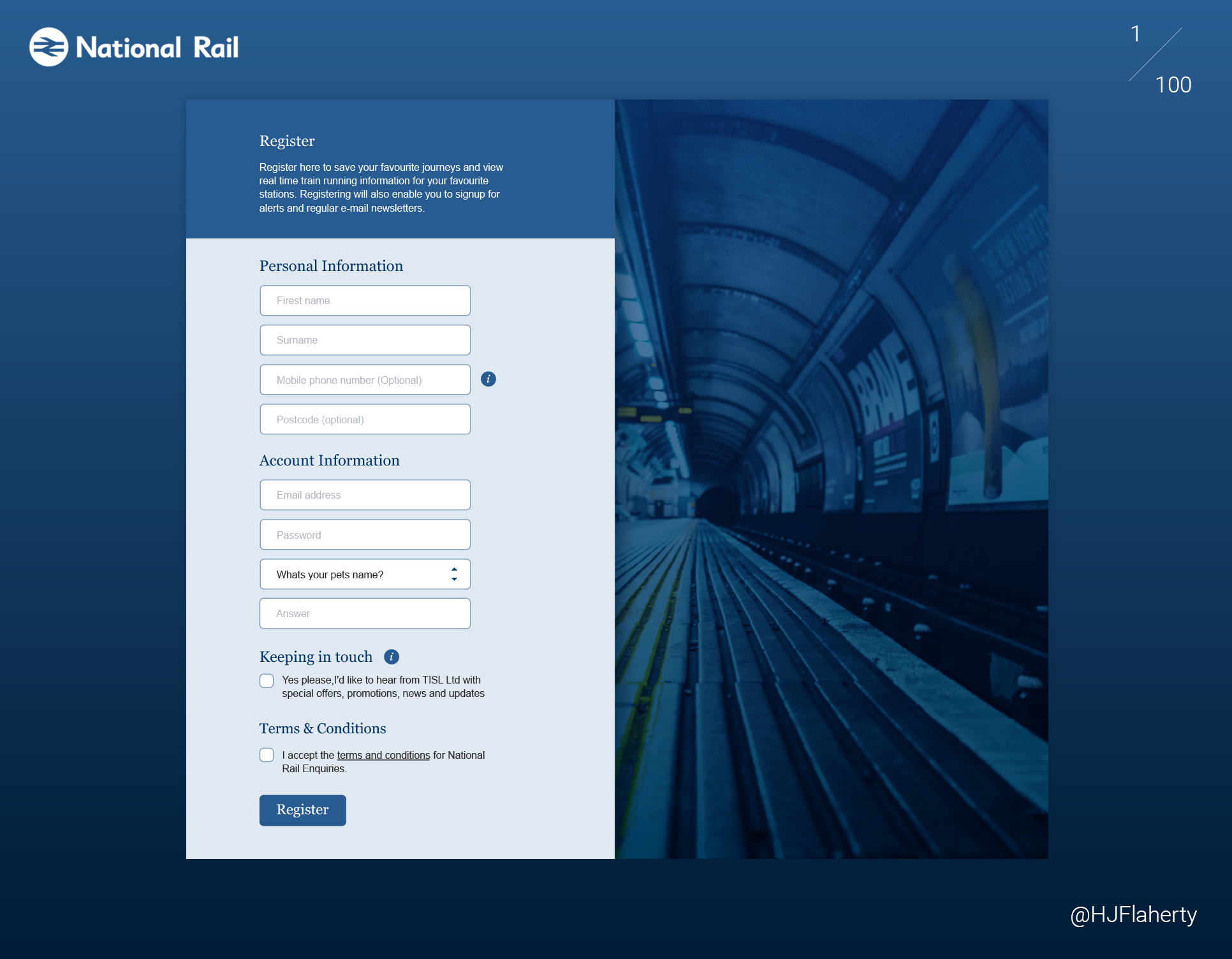 UI Daily Challenge 1 - Signup Page - The first challenge was to Design a sign up page, modal, form or app screen.I had chosen to start with nationalrail.co.uk's signup page, and condense already existing form fields to reduce time spent on creating an account.
