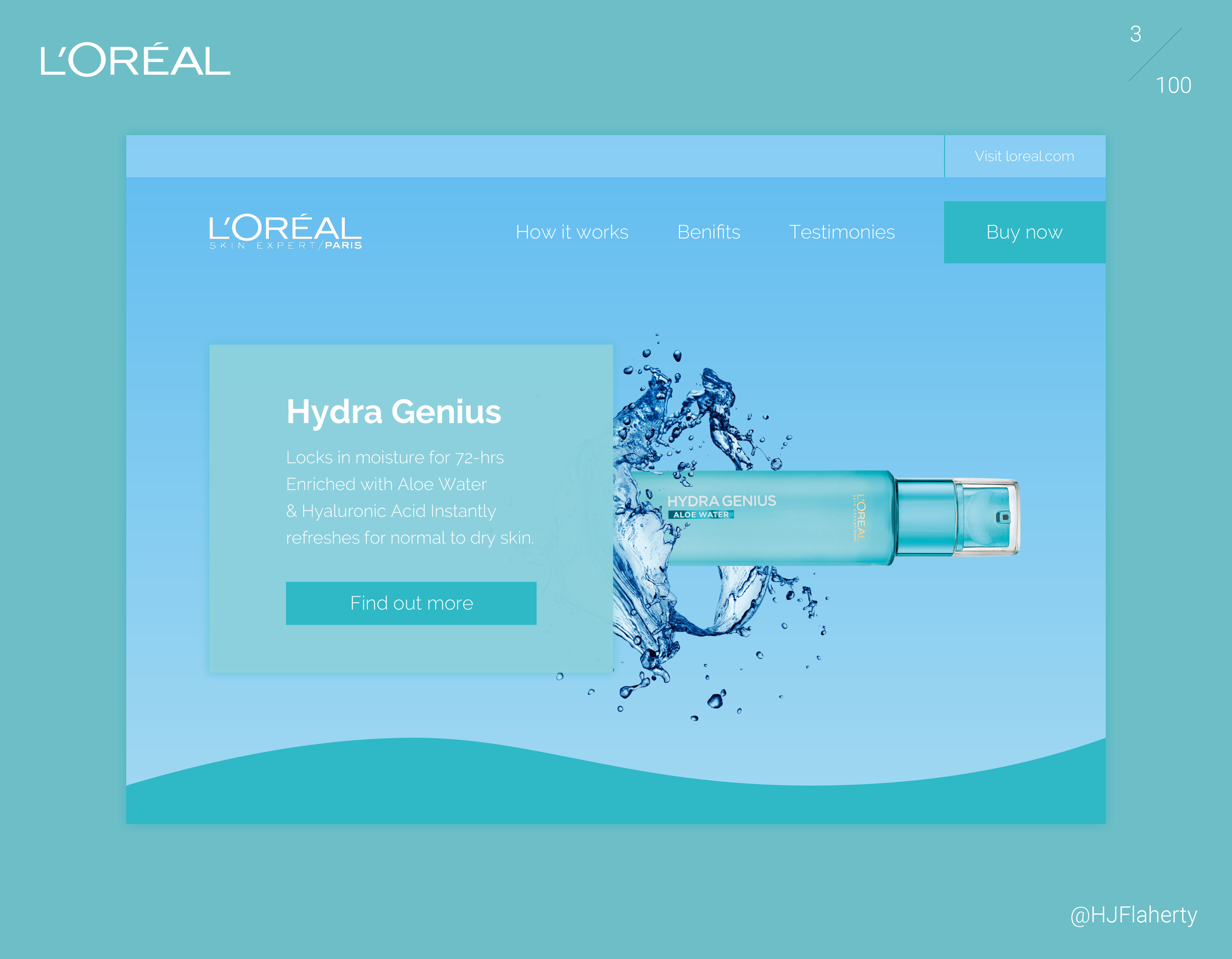 UI Daily Challenge 3 – Landing Page - Day 3 was to design a Landing page. I used L'Oréal skin cares product Hydra Genius to create a promotional page for the product. Taking advantage of the product packaging I chose to use the product colouring and colours that harmonises with the packaging.