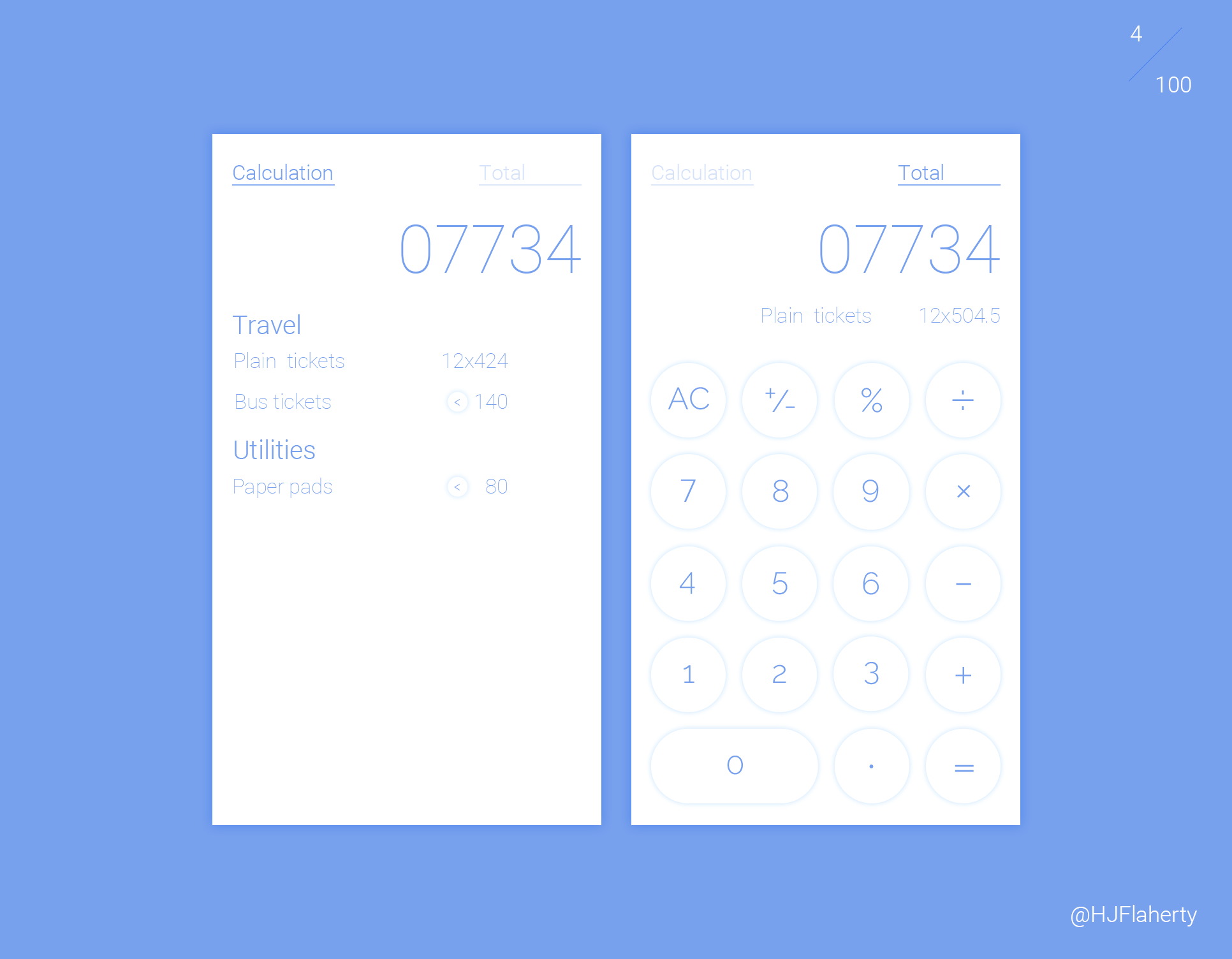 UI Daily Challenge 4 – Calculator - Day 4 was to design a Calculator UI. I went beyond a conventional calculator design and added an excel functional element to calculator design concept.