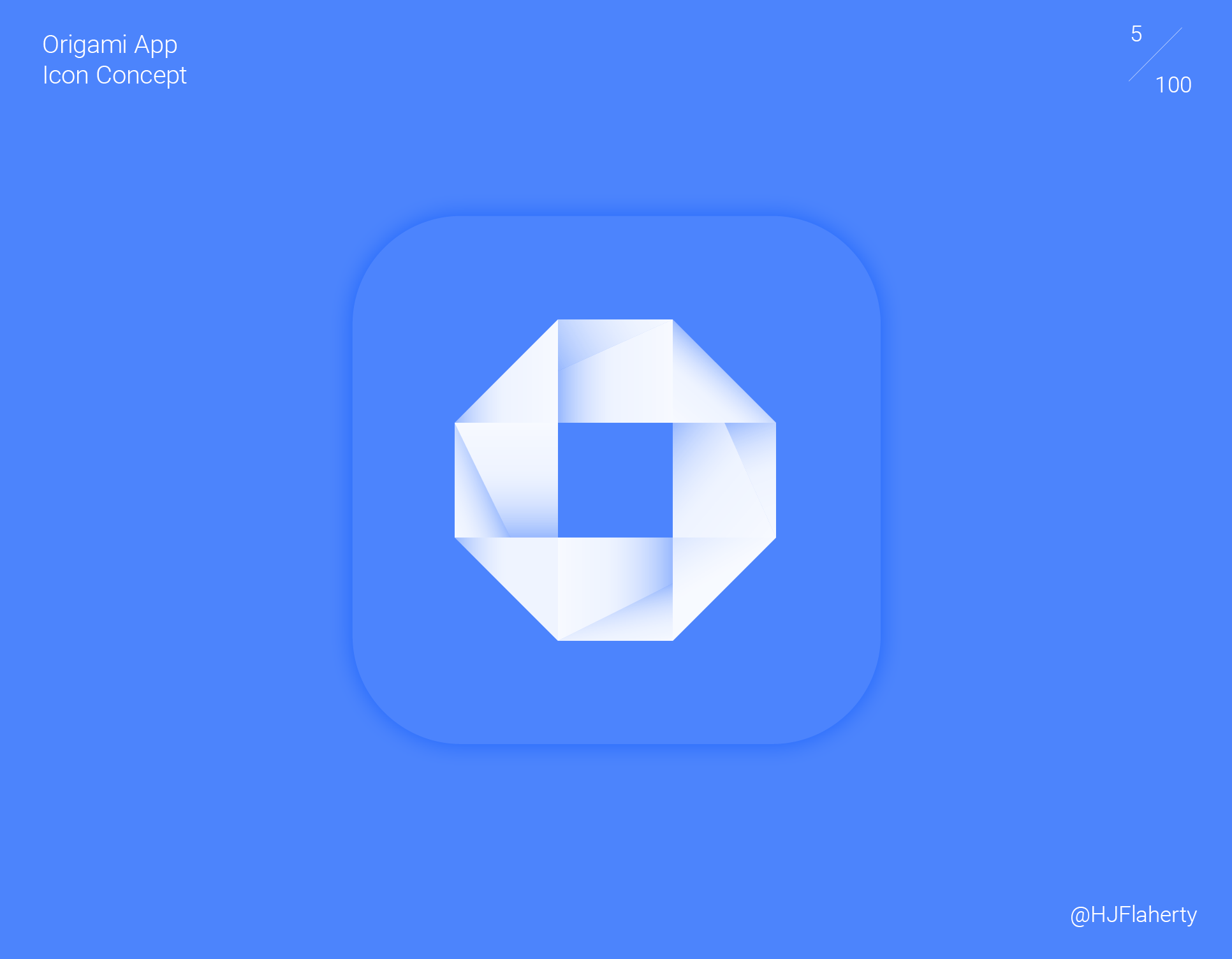 UI Daily Challenge 5 – App Icon - The brief on day 5 was to design a app Icon. I had designed an icon for an Origami app concept which its purpose is to teach people how to make Origami. I had gone for a simplistic geometric icon which can be seen clearly from a distance.
