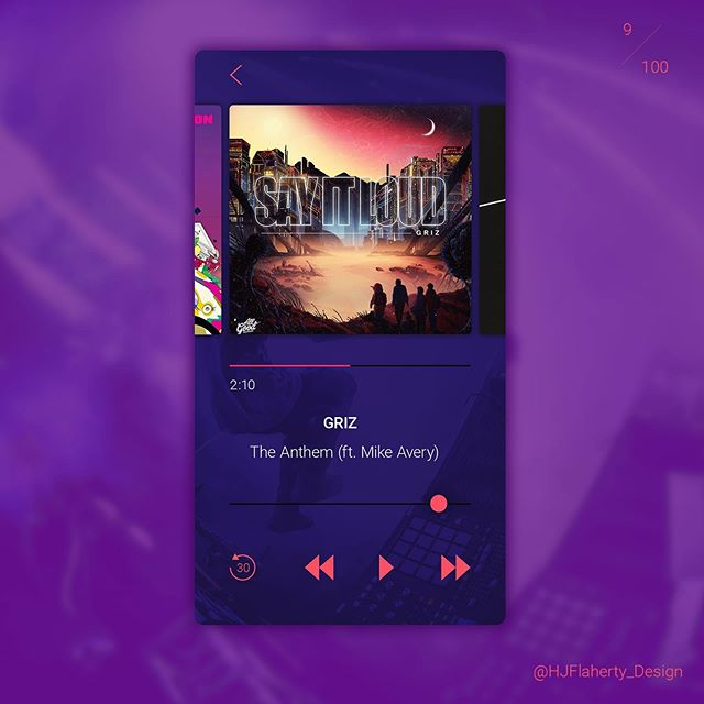 UI Daily Challenge 9 – Music player . . #ui #uidesign #design #web #appdesign #volume design #purple #music #challenge #album #clean #fresh #shading #graphicdesign #londondesigner #designer #digital #dailychallenge #day9 #concept #app #appdesigner #controls #pink #dailyinspiration #ux #userinterface