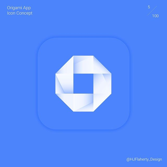 UI Daily Challenge 5 – App Icon  #ui #uidesign #design #app #appicon #blue #origami #challenge #minimalism #clean #fresh #shading #graphicdesign #londondesigner #designer #digital #dailychallenge #day5 #concept