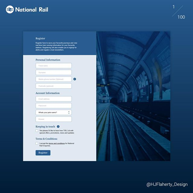 My First UI Daily Challenge :) #Daily_UI #001 #signup form for @national.rail #UX #UI #Redesign #Sketch #DailyUI #userinterface #uxdesign #webdesign