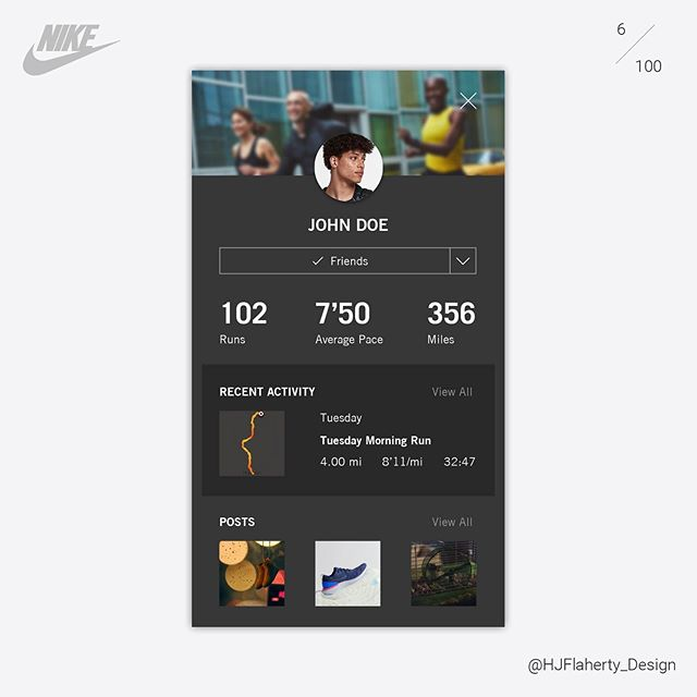 UI Daily Challenge 6 – User Profile . . . @ux_trends  #ui #uidesign #design #app #nike #grey #black #challenge #sports  #nike #niketraining #clean #fresh #shading #graphicdesign #londondesigner #designer #digital #dailychallenge #day5 #concept #profile #user #userprofile #stats #information #healthandfitness #fitness #map