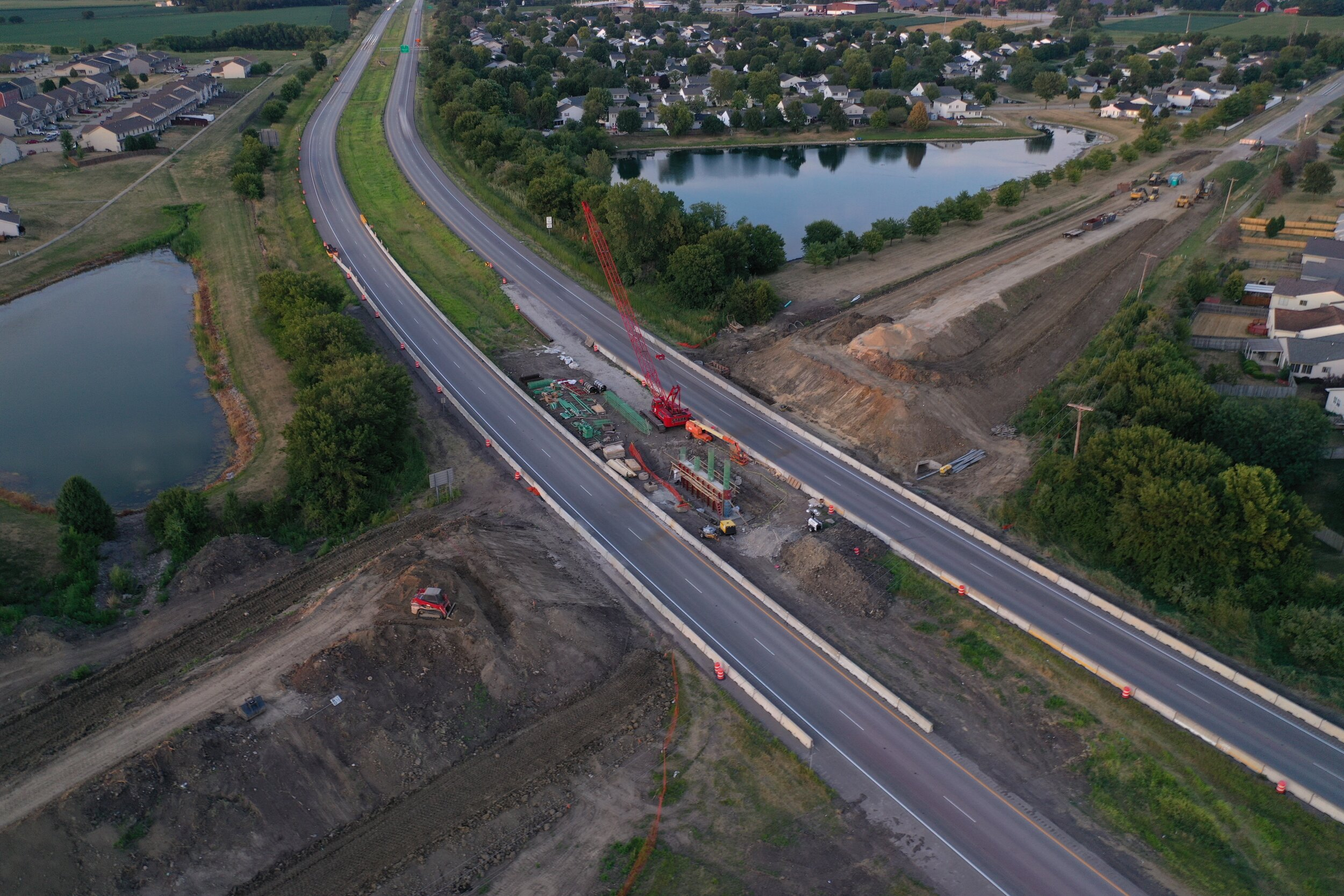 Aerial image of bridge construction project