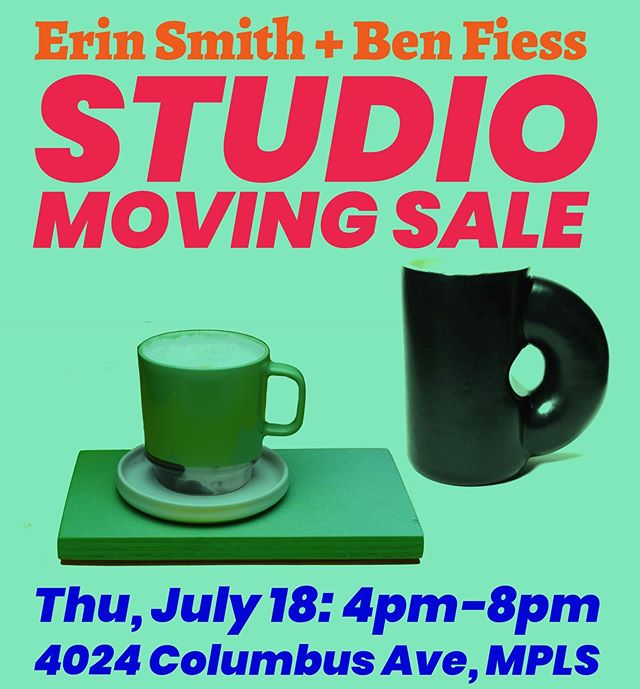 Hey Minneapolis! @erinlynnsmith and I are having a studio sale this Thursday, 4-8: 4024 Columbus Ave. We are both moving studios so it is a great time to get some unique ceramic work from us!  #minneapolis #pottery #sale #studio #ceramics