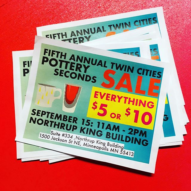 It is happening!  This Sunday! The annual second sale.  We have 20 twin cities potters selling work for $5 or $10. So much good work! Northrop king, 11am!  #pottery #sale #mpls2nds