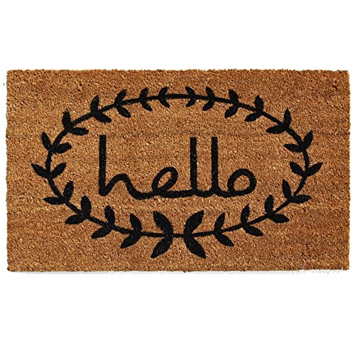 Hello wreath doormat