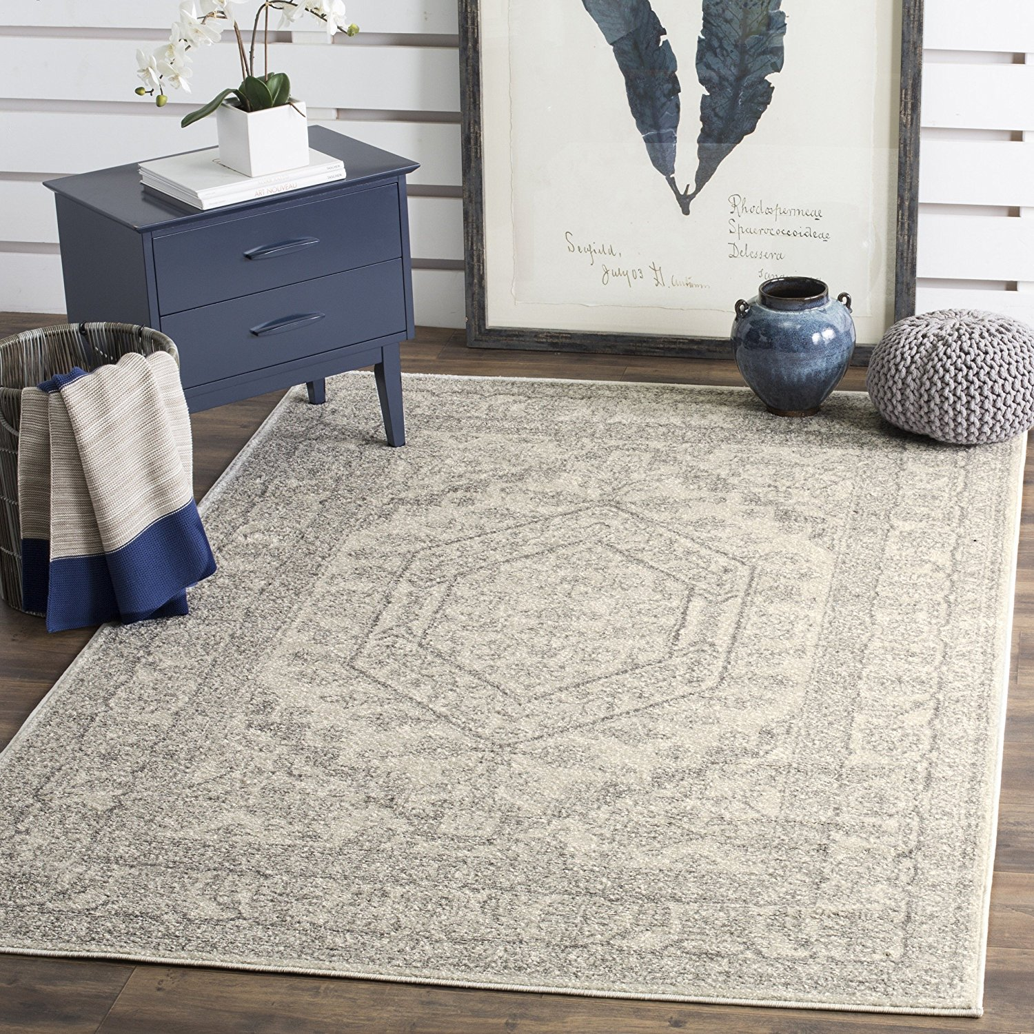 ivory and silver rug