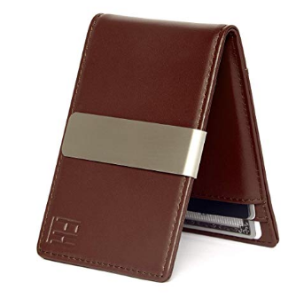 Slim Leather Wallet Money Clip