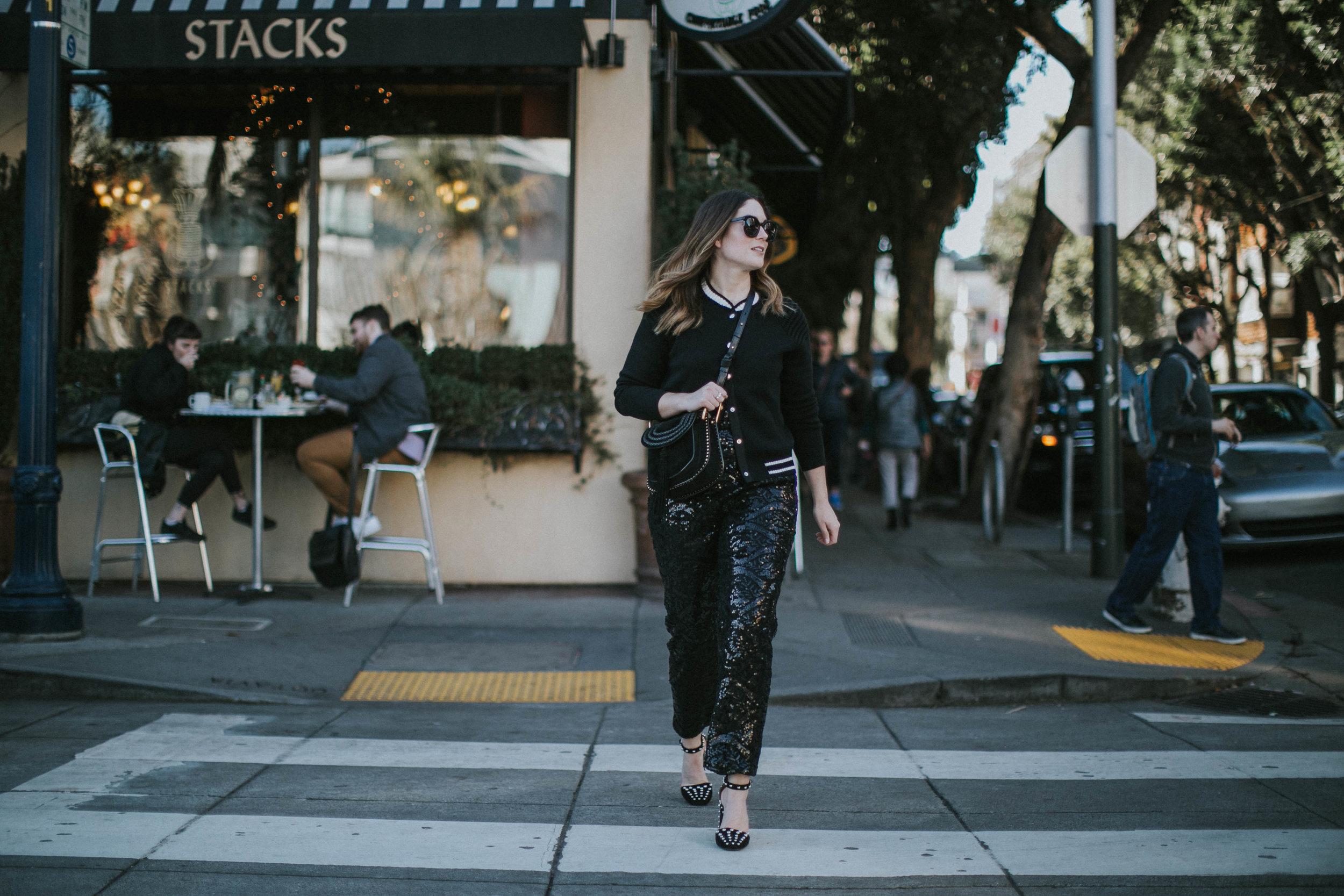 sweater  Maje  | purse  Chloé  | jumpsuit  Closet London  | shoes  Alexander Wang  | sunglasses  Karen Walker