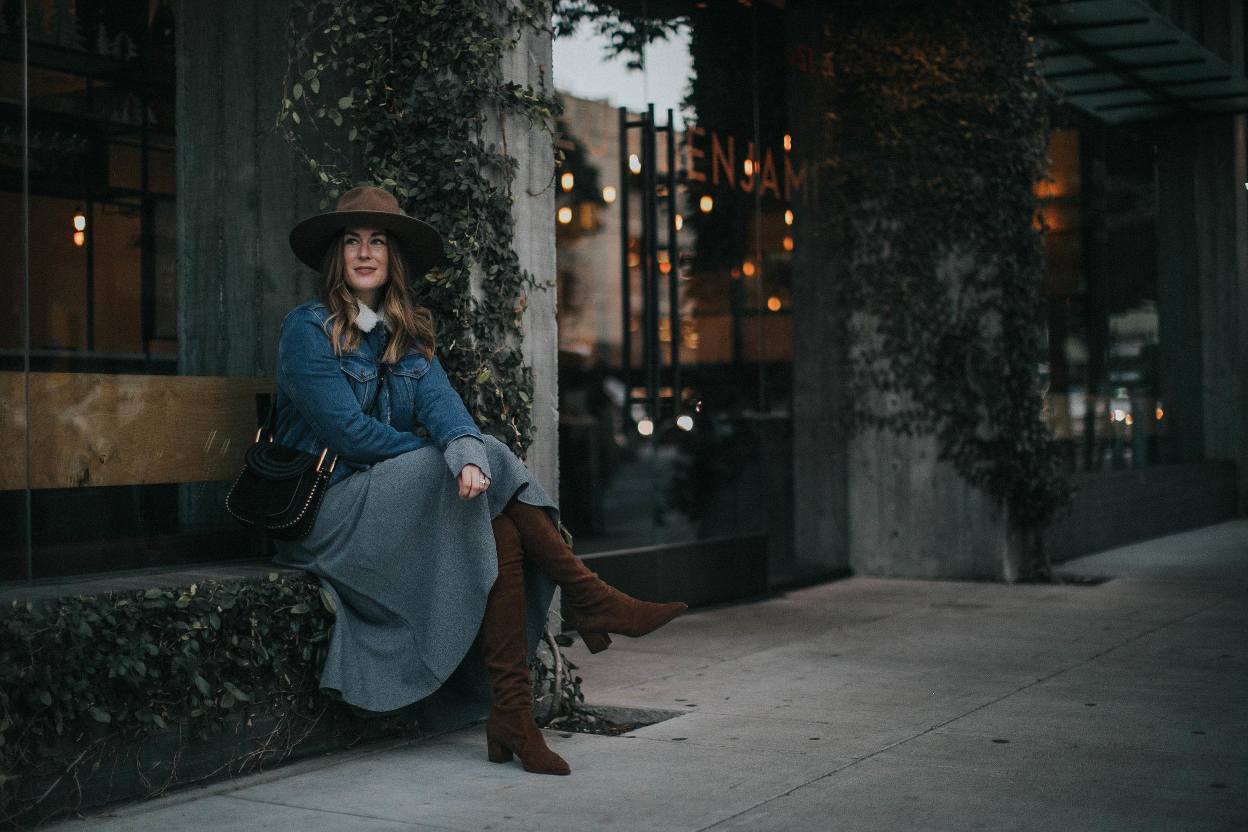 purse  Chloé  | hat  Brixton  | jacket  Levi's  +  Anthropologie  | dress  H&M  | boots  Stuart Weitzman