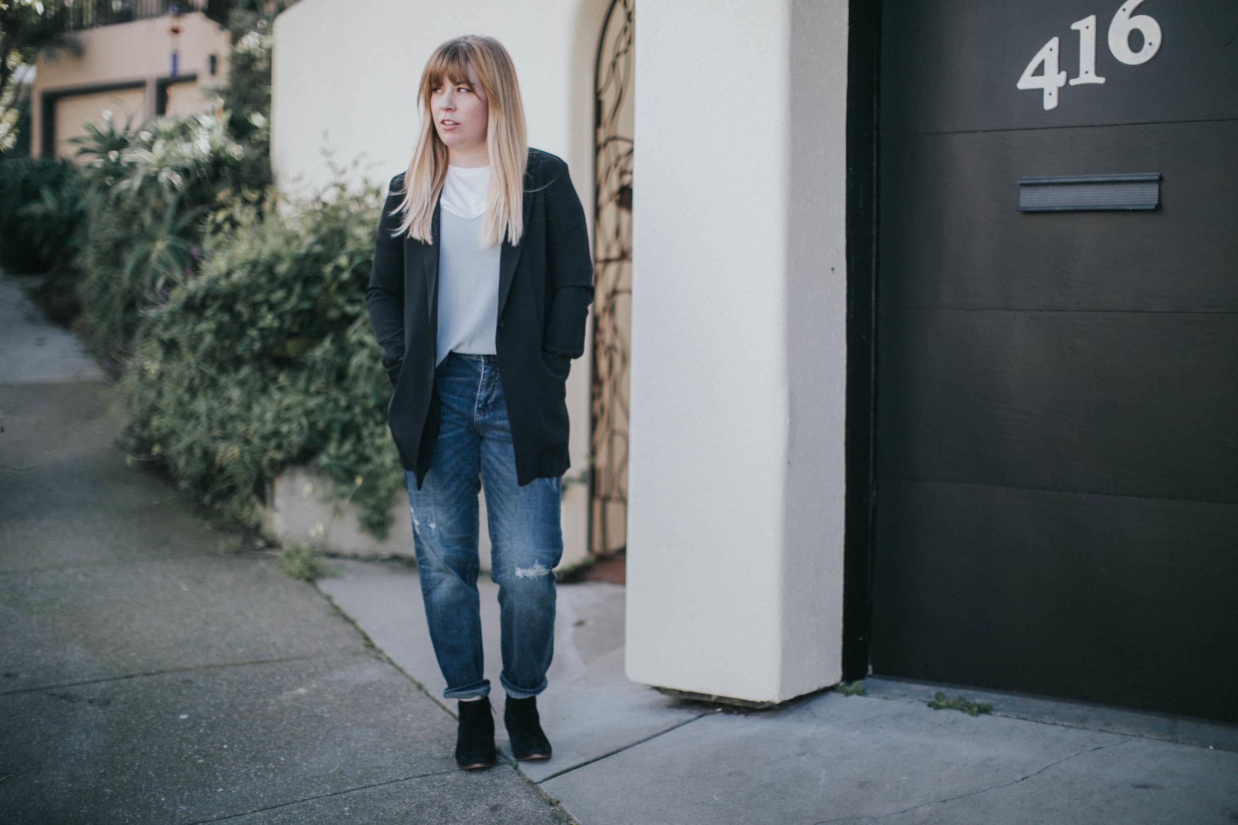 jeans + shirt + blazer  Uniqlo    boots  Sam Edelman