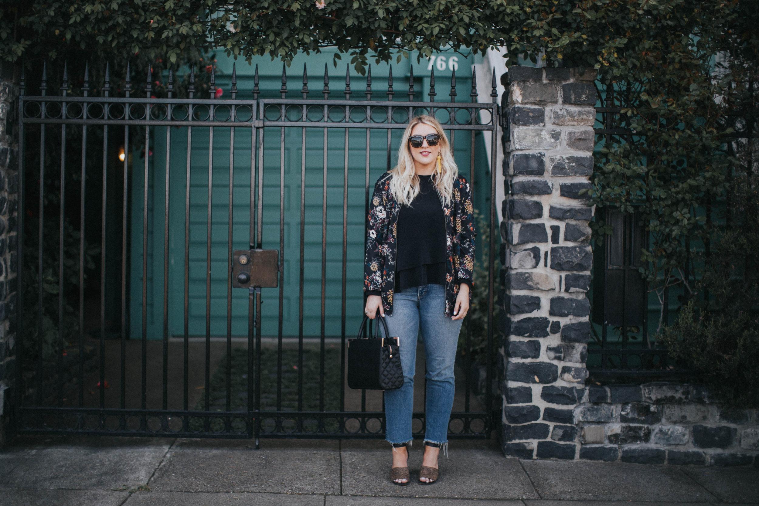jeans H&M   floral bomber ASOS   top ZARA   heels MADEWELL   earrings H&M   sunnies FREE PEOPLE   bag OLIVER BILOU