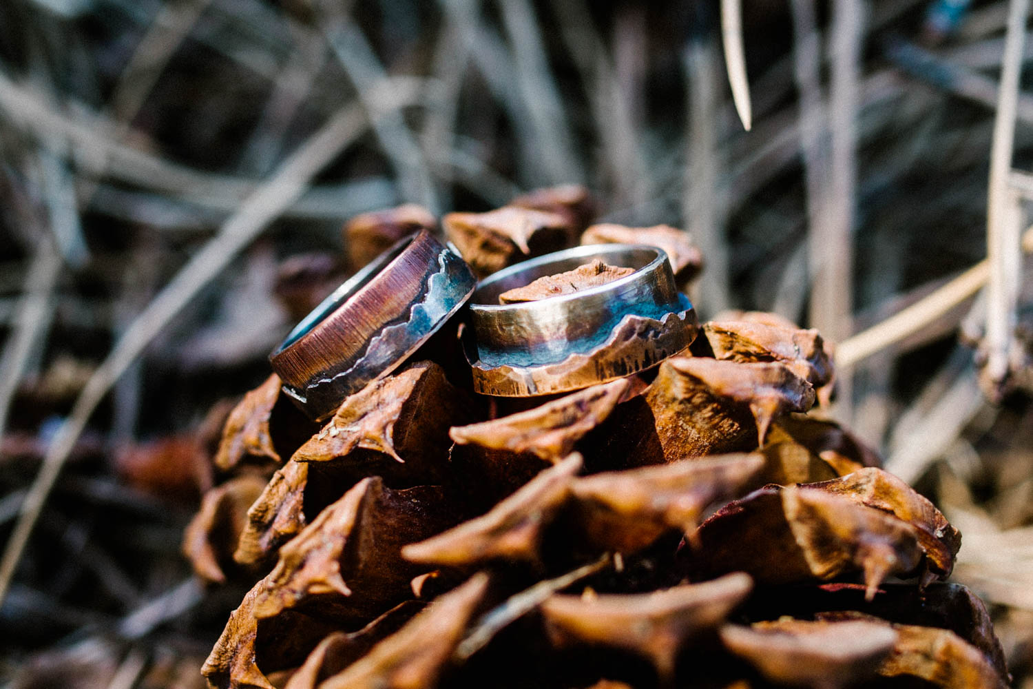 Custom wedding bands created by Stuart's of Bend