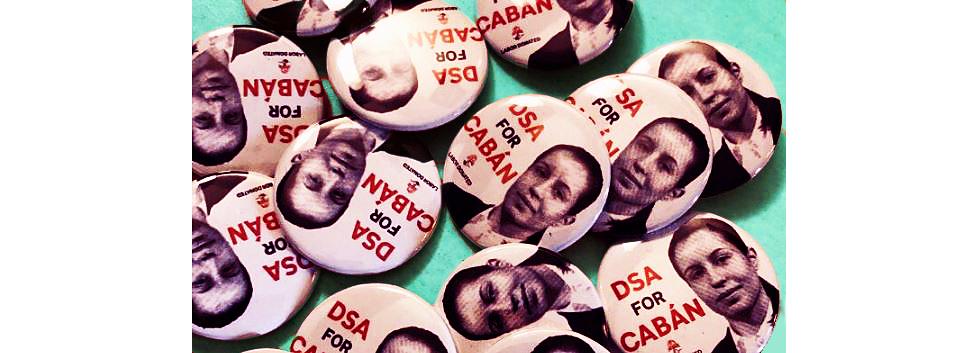Cabán campaign buttons designed by James T