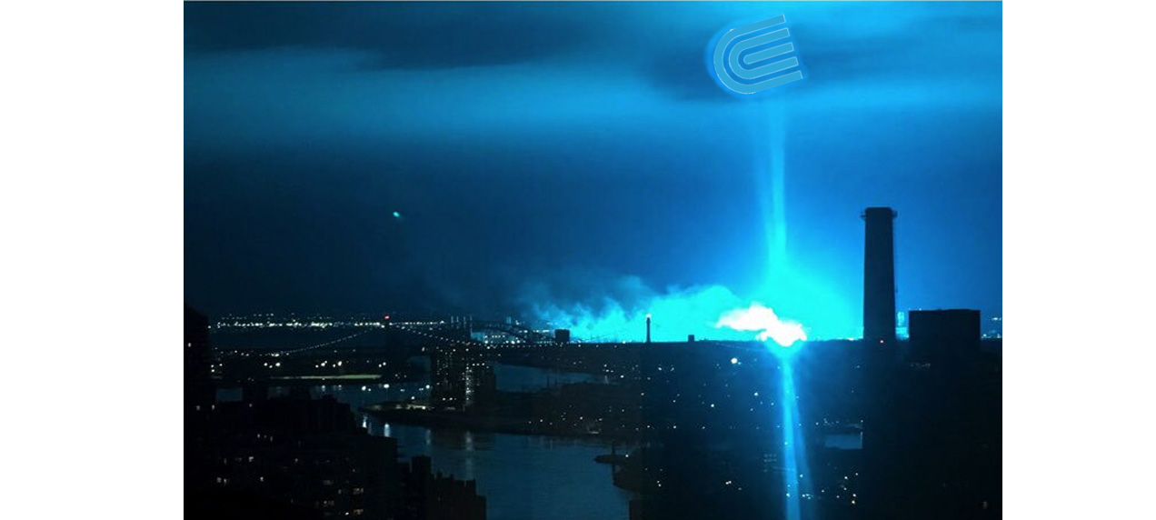 NYC bathing in the phosphorescent blue glow of Con Ed's dirty energy