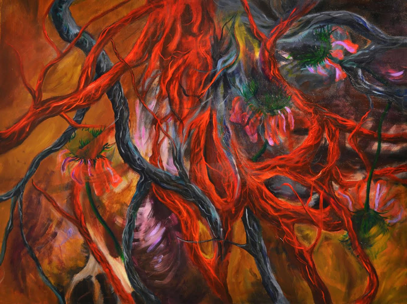 This is a piece focused on nature. The image is based on fiery colours: dark oranges and reds. The top right hand corner is darker and it is here where the roots begin—thick, black strands streaking and curling their way around the canvas. There are also flower buds in the top right hand corner, black like the roots, with some green coming out of them—the beginnings of growth. There are dark orange ones roots as well, snaking their way around the image. The focus of this image is colour—the image is enticing with its warmth and richness—the background is a multitude of yellows and golds and purples.