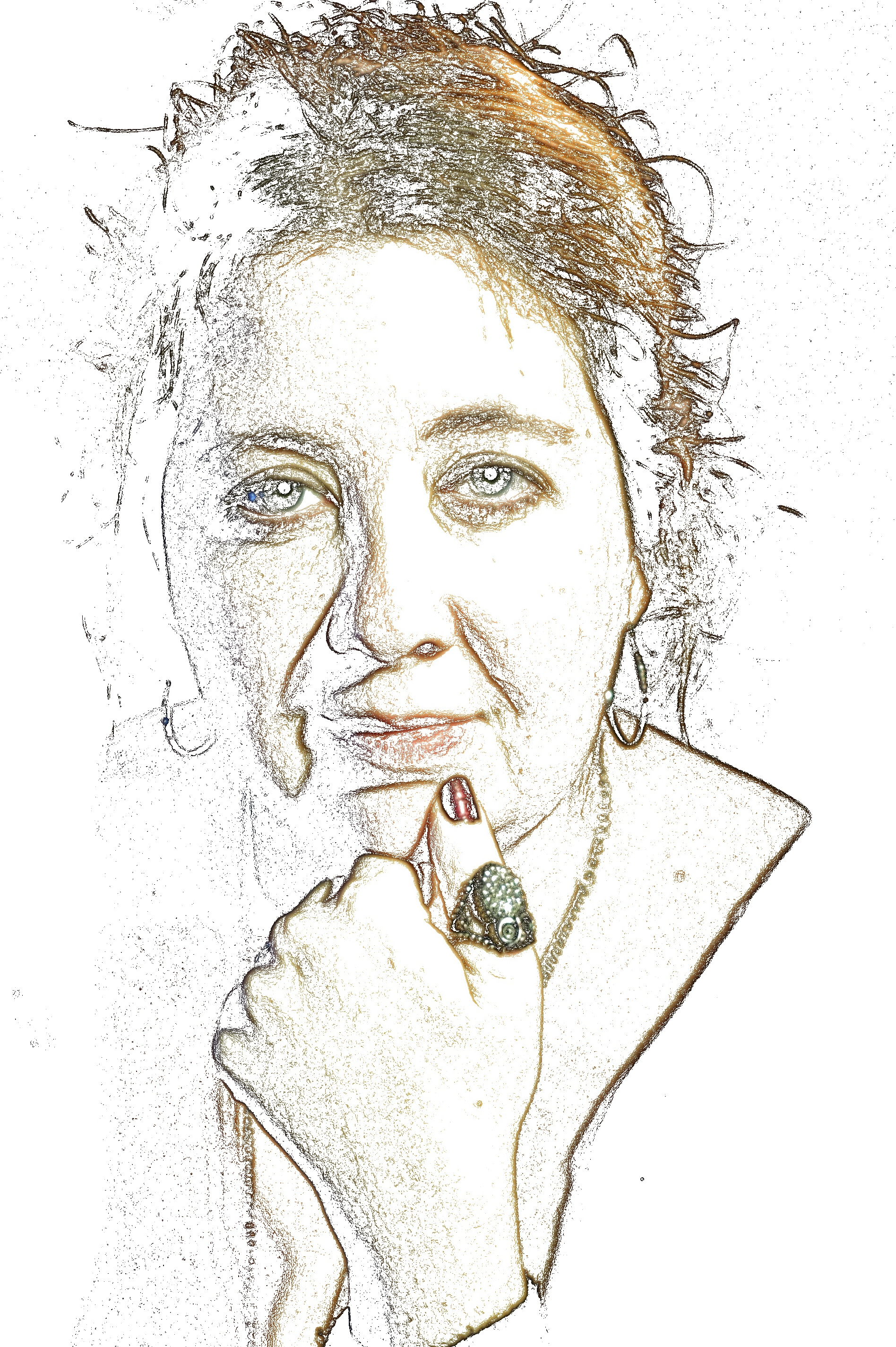 The author is centrally-featured in an whitewashed photo nearly devoid of color except for spikes of auburn hair, a hint of blue eyes, a pink almost-smile (or is it a smirk?) and a red-polished thumb resting on the author's chin (much like an artist surveying their work). The thumb sports a clunky silver ring which, upon closer inspection, reveals itself to be an owl perched upside-down. Abstract lines suggest a shoulder, a plunging neckline, the chain of a necklace, a freckled hand, and the cuff of a sleeve; also, the lines of a face content to gaze directly at the viewer, even as the viewer gazes upon the face.