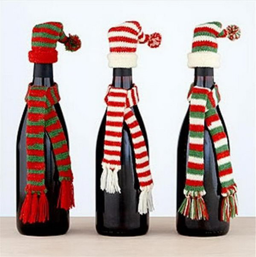 up-cycle your wine bottles for the holidays instead of buying decorations this season