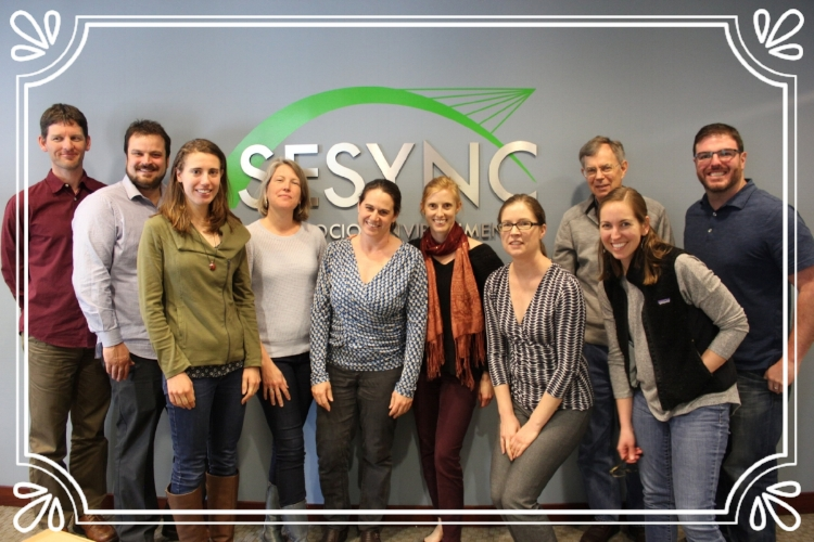 Meeting of the minds at SESYNC, April 2017: from left to right, Scott Neubauer, Aaron Strong, Emily Ury, Emily Bernhardt, Keryn Gedan, Kate Tully, Molly Mitchell, Tom Jordan, Cassie Gurbisz, and Todd BenDor (missing from photo: Nat Weston and Jon Kominoski)