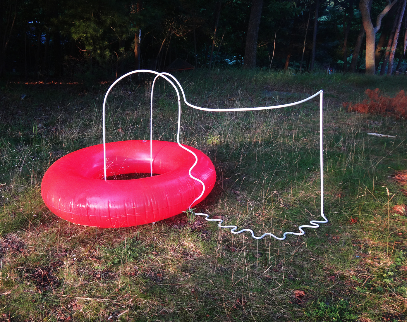 Made at Ox-Bow School of Art and Artists' Residency; recipient of Portfolio Merit Scholarship, 2019, steel, spray paint, and pool float