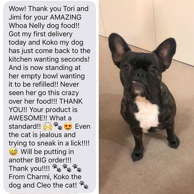 Lovely message from first timers Charmi & Koko!! 🙌❤️ #happycustomers #grateful #localbusiness #dogsofbrisbane #rawfeddog