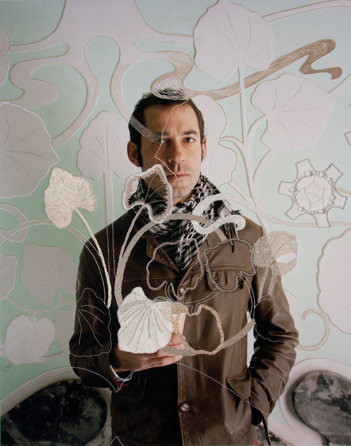 Threaded leaves, pigment print, cotton, linen & silk thread, glass and plastic beads, 93 x 74 cm