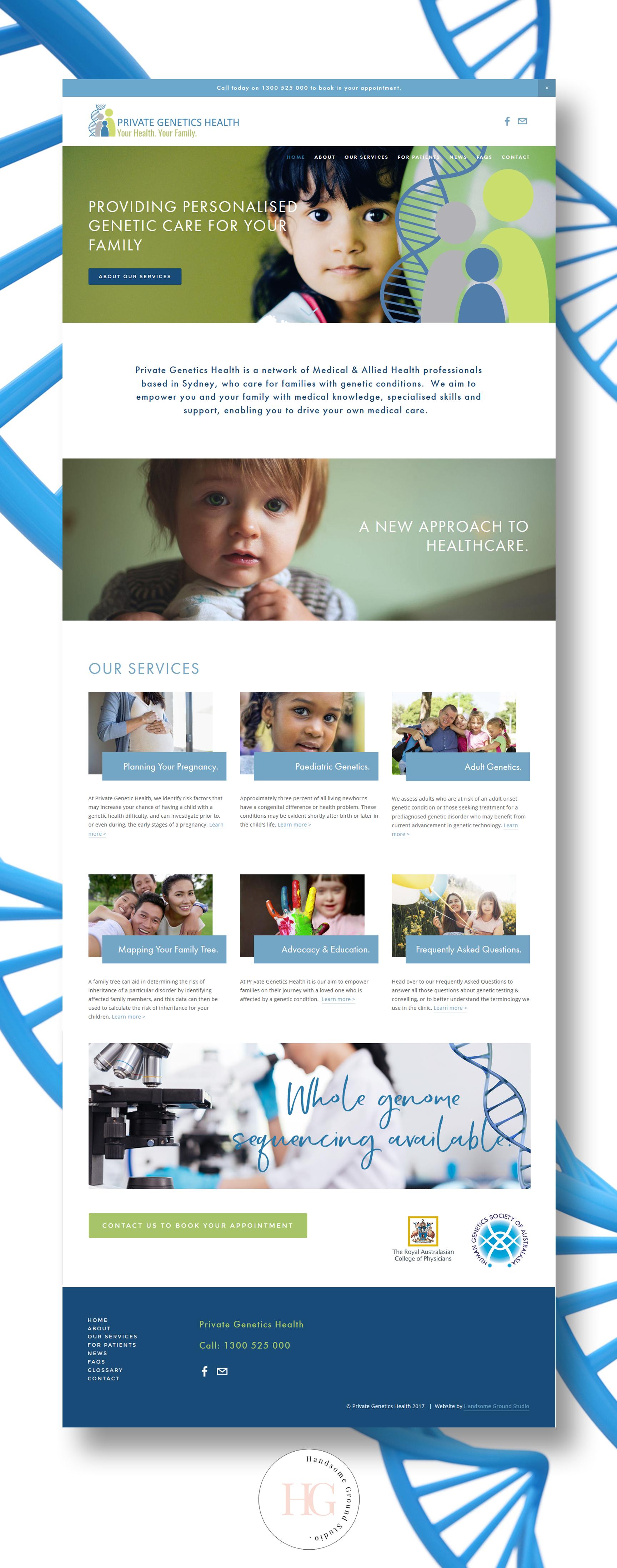 Website Design for Private Genetics Health Sydney.