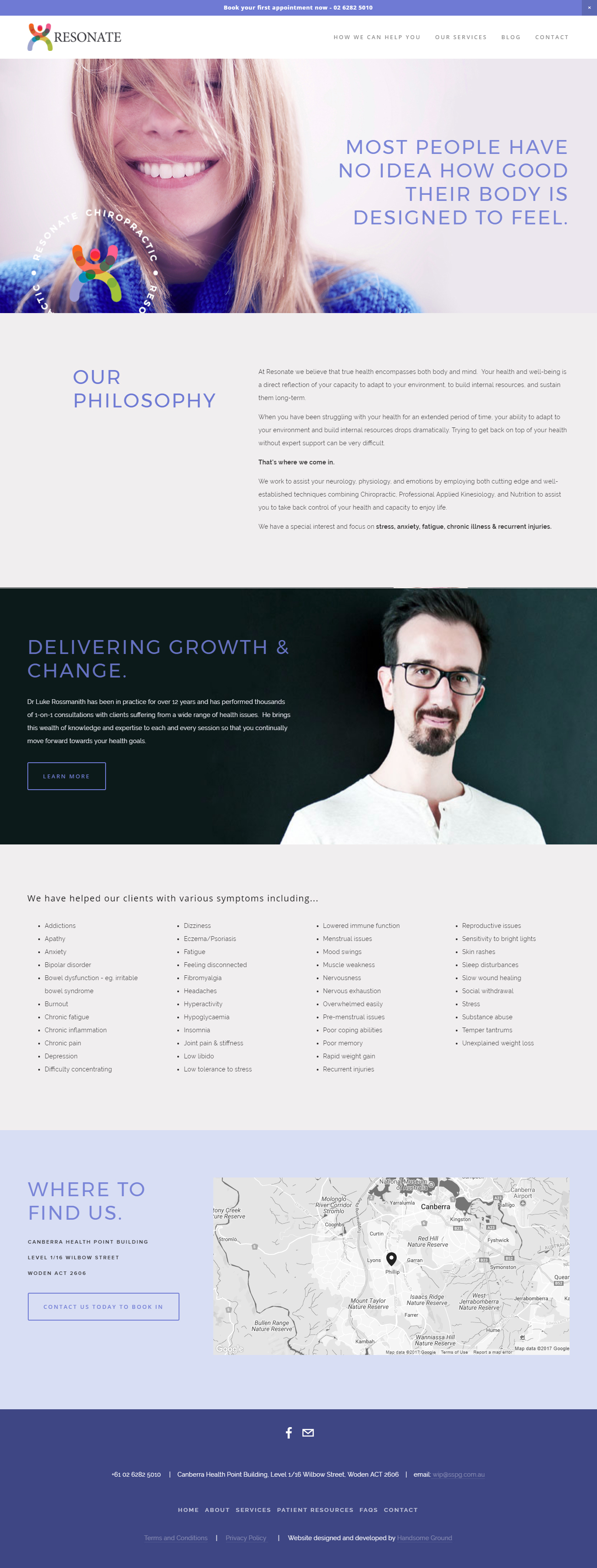 Chiropractic Website design by Handsome Ground Studio