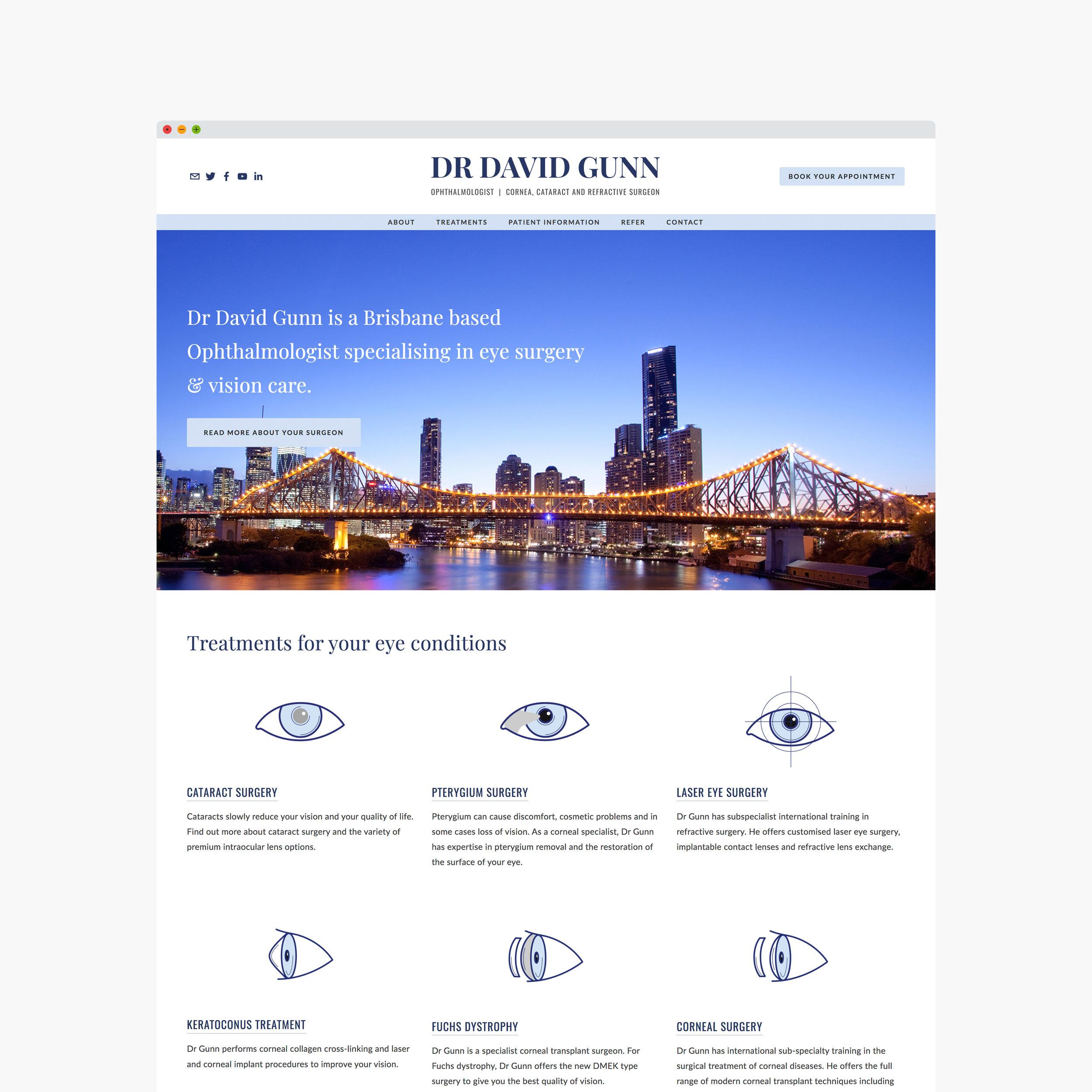 Ophthalmologist website designed by Handsome Ground Studio Canberra.