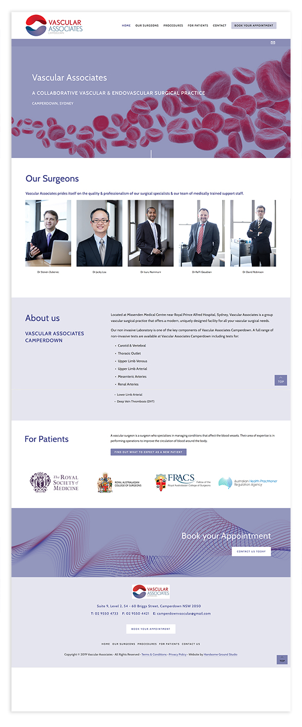 Squarespace website designed for a vascular surgical practice in Sydney by Handsome Ground Studio