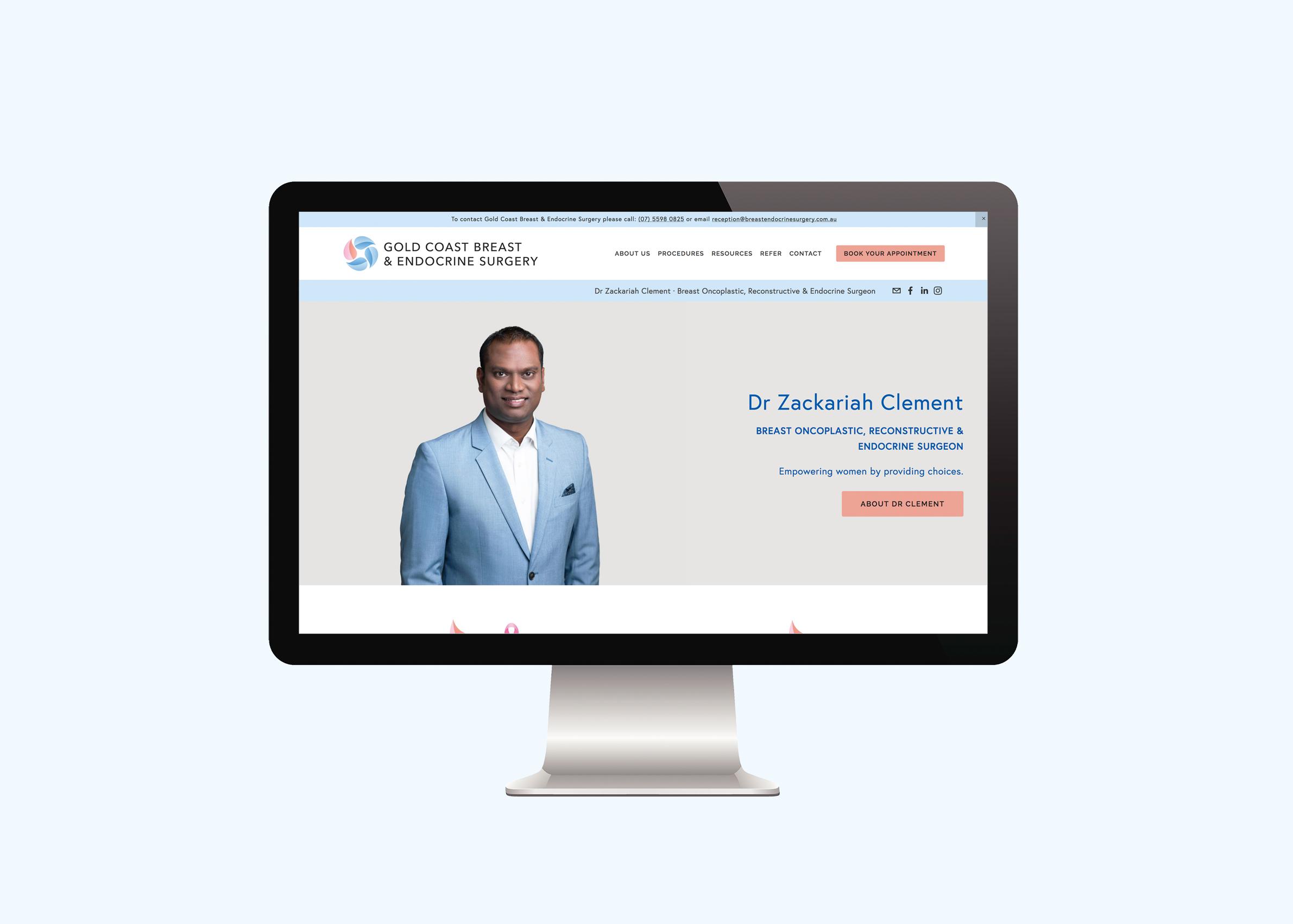 Breast Endocrine Surgeon website designed by Handsome Ground Studio Canberra.
