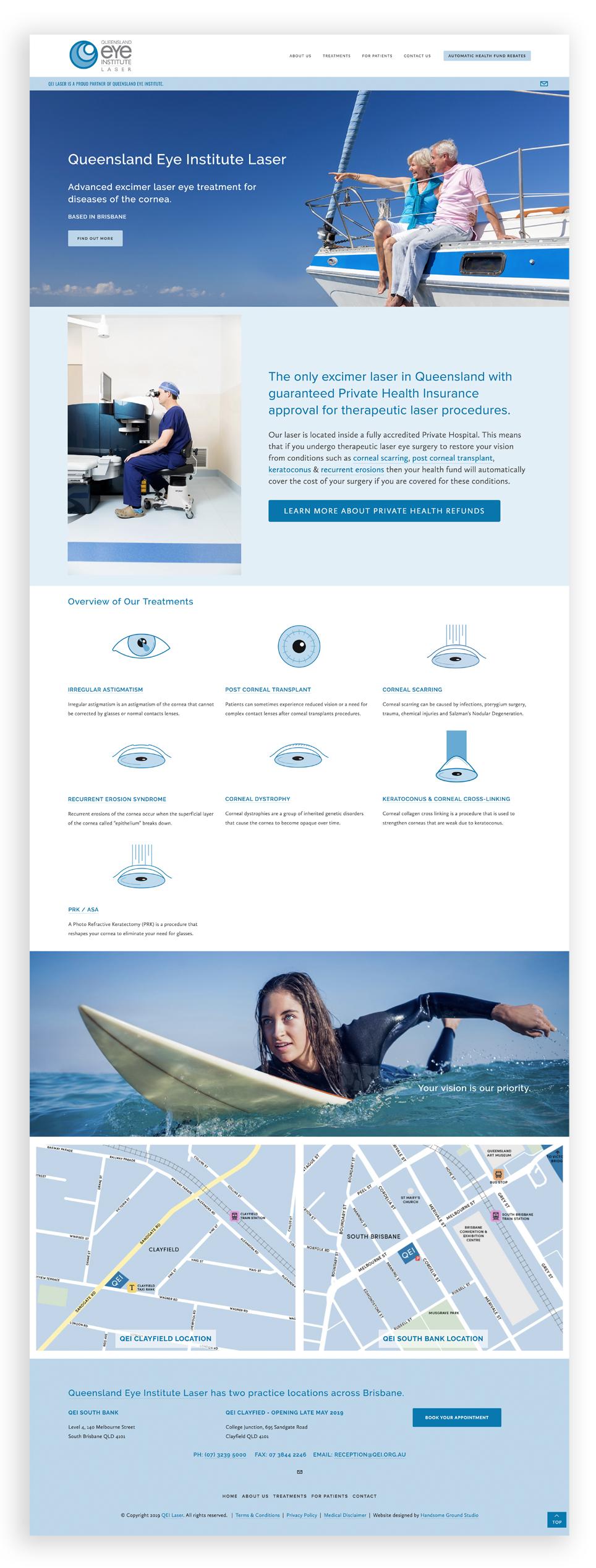 Website Design & Branding for Queensland Eye Institute Laser Ophthalmology Practice based in Brisbane.