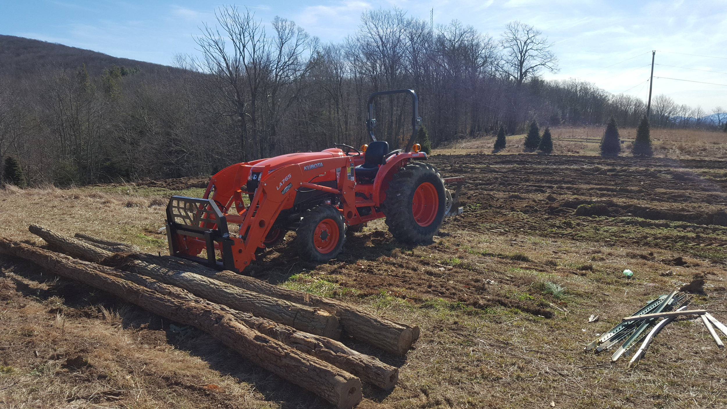 Our new tractor is really helping out thanks to the crew at Mountain Kobota in Boone!