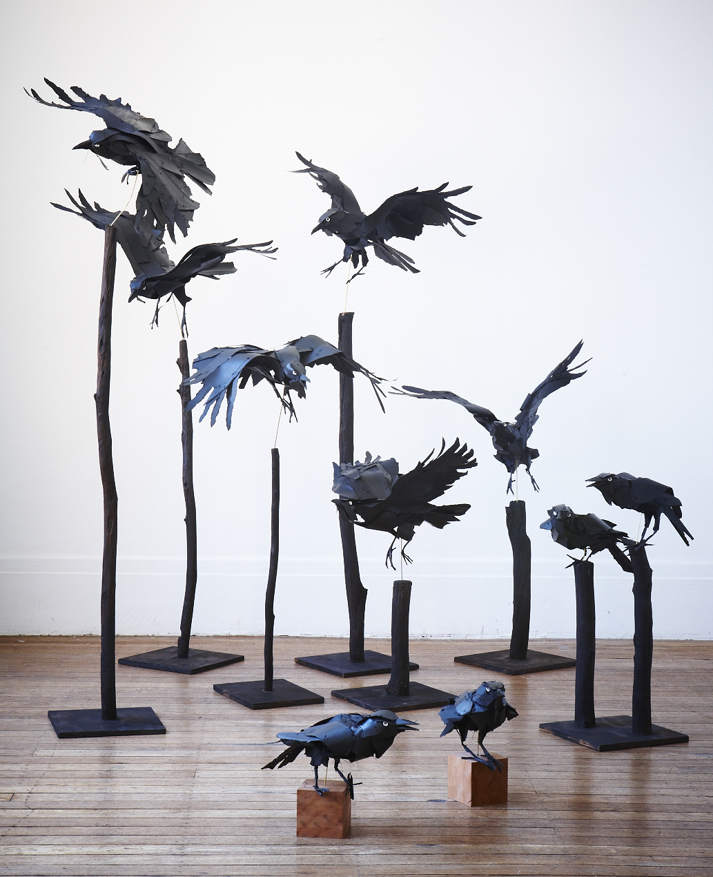 Ravens 2012 cotton rag, cotton thread, watercolour ink, brass rod  Image by Petrina Tinslay