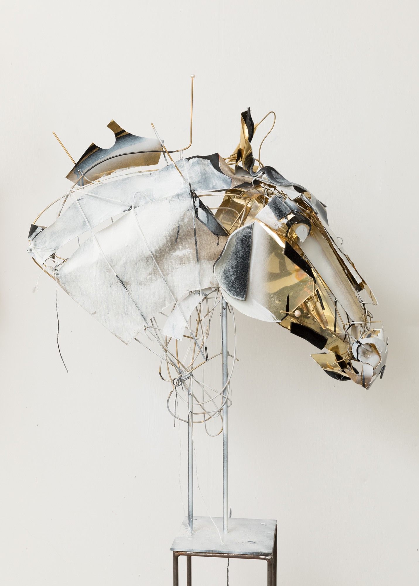 Horse 2018 Brass, linen, shell, ink, spray paint 80cm x 50cm x 30cm