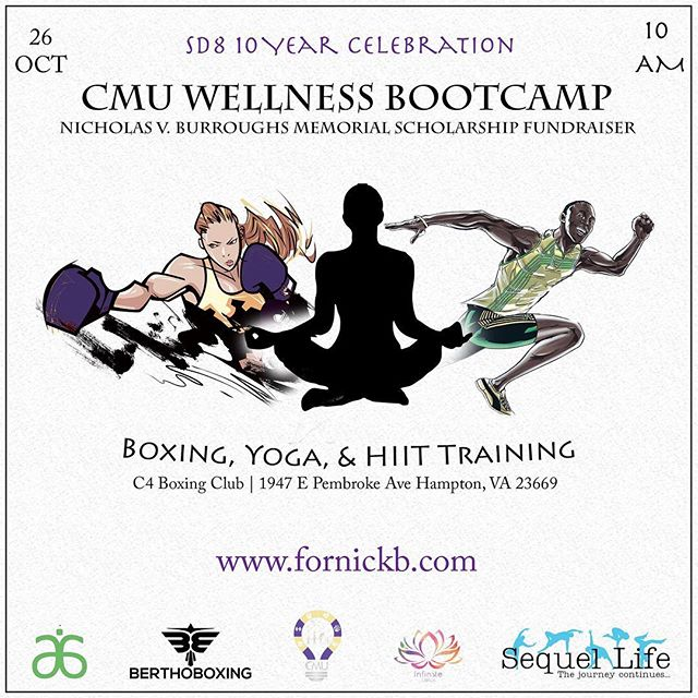 HAMPTON, VA  CMU is hosting a free wellness bootcamp as a means to raise funds for the Nicholas V. Burroughs Memorial Scholarship and promote holistic wellness.  Participants will choose between yoga, boxing or HIIT training. Participants will also have access to cold-pressed juices, smoothies, protein bars, and vegan skincare. Take charge of your health and wellness while simultaneously supporting academic achievement. Be the best you, you can be!  Links in bio! ————————— #scholarships #freehealth #freefitness #communitywellness #communityservice #communityfirst #communityoutreach #youthministry #fitnessmotivator #fitnessinspo #lovestronggirls #faithandfitness #freeboxing4all #loclivin #HUhomecoming #hamptonalumni #arbonne30 #freeyoga #norfolkva #chesapeakeva #manhattannyc #queenspersonaltrainer #brooklynpersonaltrainer #nycpersonaltrainer #freefitness #hbcualumni #freefitnessclass #freepersonaltraining #raleighbootcamps #supportblackbusiness