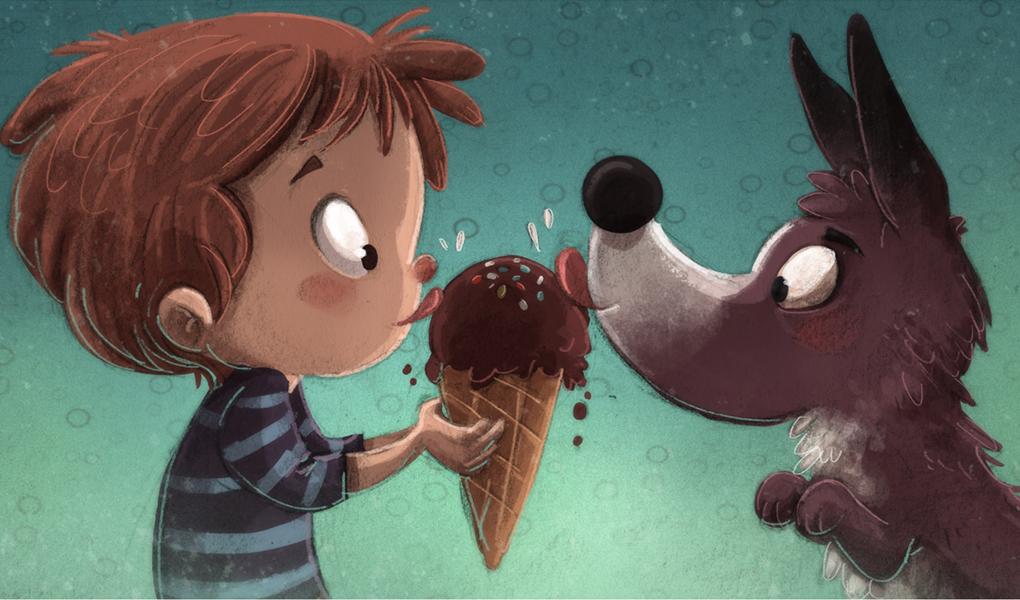 Niño y su perro comiendo helado