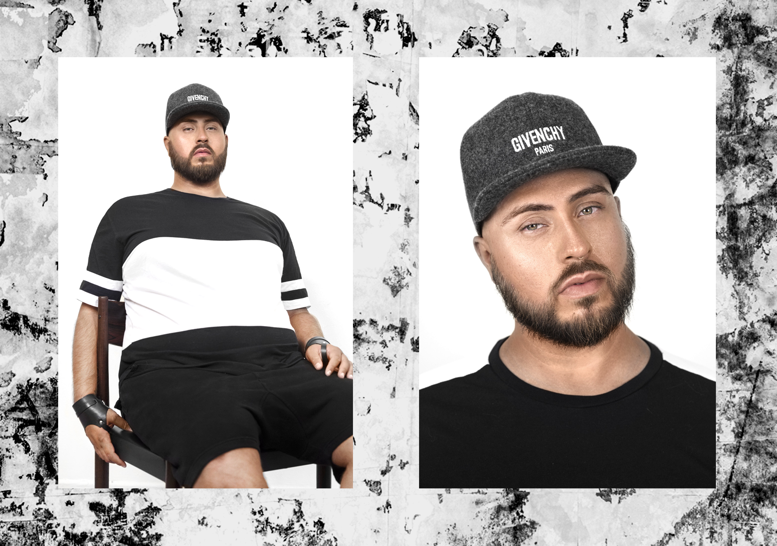 Football jersey by Zanerobe, Wrist cuffs are Margiela for H&M,Baseball cap by Givenchy.