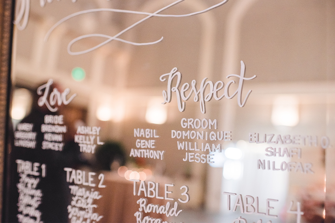 """Sweet + Crafty   Mirror seating chart with hand lettered calligraphy table assignments, a monogram, wedding date, and""""Please Be Seated"""" headline #sweetandcrafty #weddingseatingchart #seatingchart #seatingassignments #handlettering #calligraphy #candles #romantic #elegant #luxurywedding #garland #greenery #weddingflowers #floralgarland #customdesign #mirror #mirrorsignage #mirrorsign #mirrorseatingchart #wedding #tableassignments #calarealwedding #livermorevalley #pleasebeseated"""