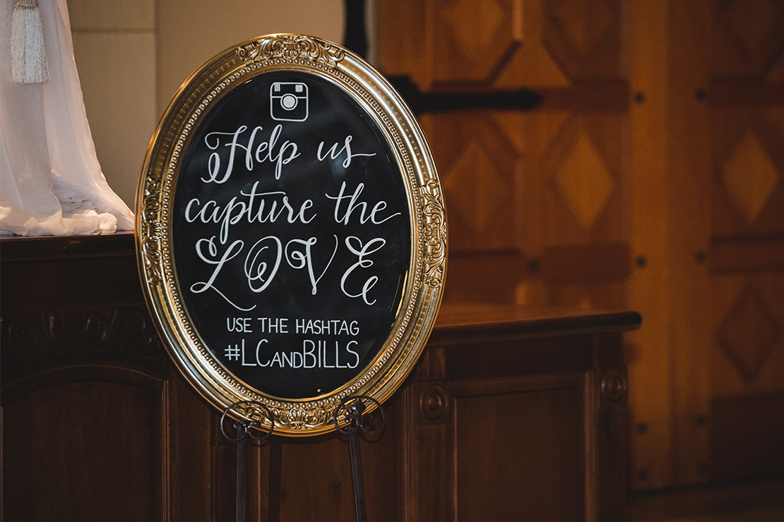 Sweet + Crafty   Mirror hand lettered wedding Hashtag sign #sweetandcrafty #weddingsignage #handlettering #calligraphy #romantic #elegant #gold #luxurywedding #hashtagsign #hashtag #weddinghashtag #weddinghashtagsign #customdesign #mirror #mirrorsignage #mirrorsign #wedding #calarealwedding #livermorevalley