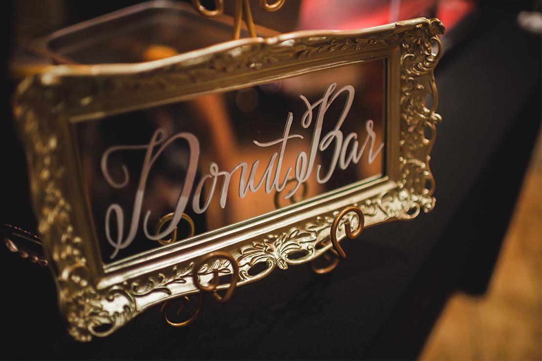 Sweet + Crafty   Wedding mirror donut bar sign #sweetandcrafty #weddingsignage #handlettering #calligraphy #romantic #elegant #gold #luxurywedding #customdesign #mirror #mirrorsignage #mirrorsign #wedding #calarealwedding #livermorevalley #donutbar #donutbarsignage #weddingdonuts #weddingdonutbar