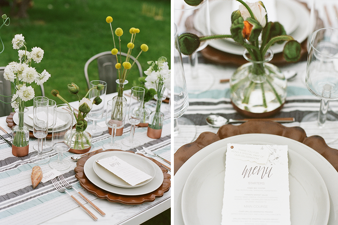Rustic Scandinavian Styled Wedding: Paper Goods + Calligraphy: Sweet + Crafty // Photography: Josh Gruetzmacher // Venue: Chalk Hill Clematis // Planning: Be Hitched Event Planning + Design // Florist: Chestnut & Vine Floral Design // Wedding Dress: Elise Hameau from LOHO Bride // Bride's Shoes: Bryr Clogs // Hair + Makeup: Fox & Doll // Groom's Suit: The Black Tux // Catering: Quince // Cake: The Whole Cake // Table Top Rentals: Frances Lane // Furniture Rentals: Bright Event Rentals // Jewelry: Melissa Joy Manning // Linens: La Tavola Linens // Ceramic Vessels: Gerhard Ceramics