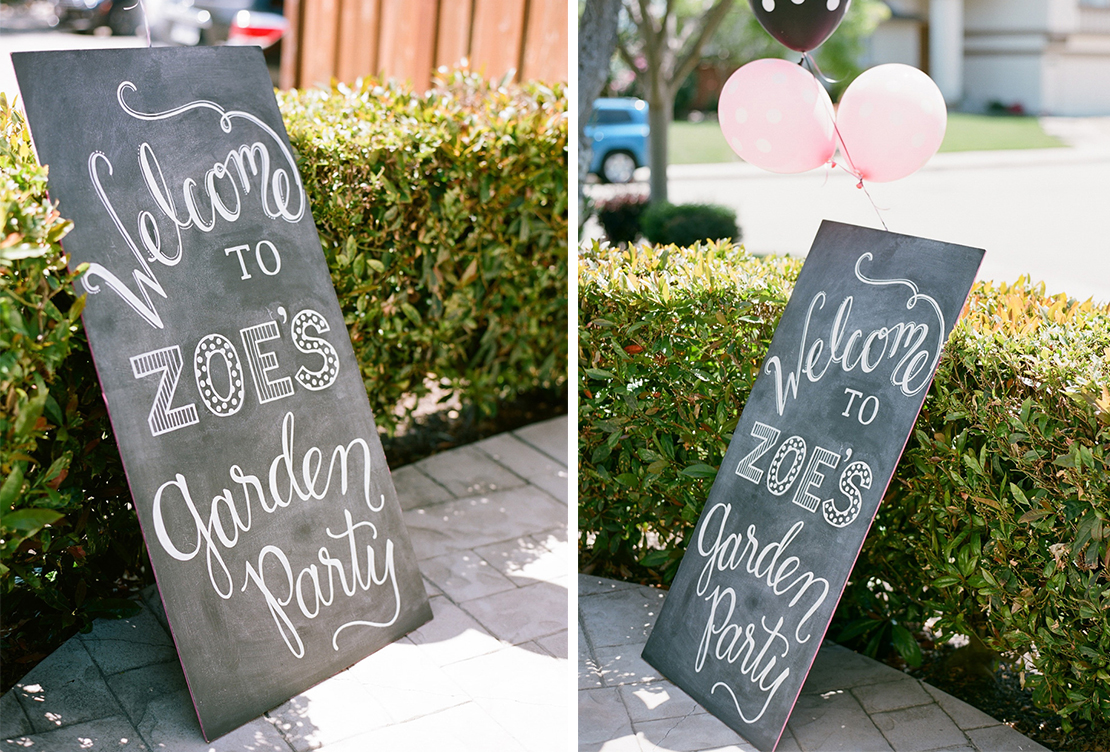 Sweet + Crafty | Hand lettered first birthday party chalkboard welcome sign #firstbirthday #firstbirthdayparty #welcomesign #gardenparty #chalkboard #chalkart #chalkboardsignage #chalkboardwelcomesign #birthdayparty #birthdaypartywelcomesign #customdesign #handlettering #calligraphy #chalk